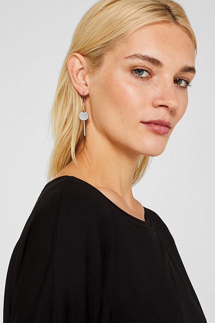 Metal hoop earrings with pendants, ONE COLOUR, detail image number 2