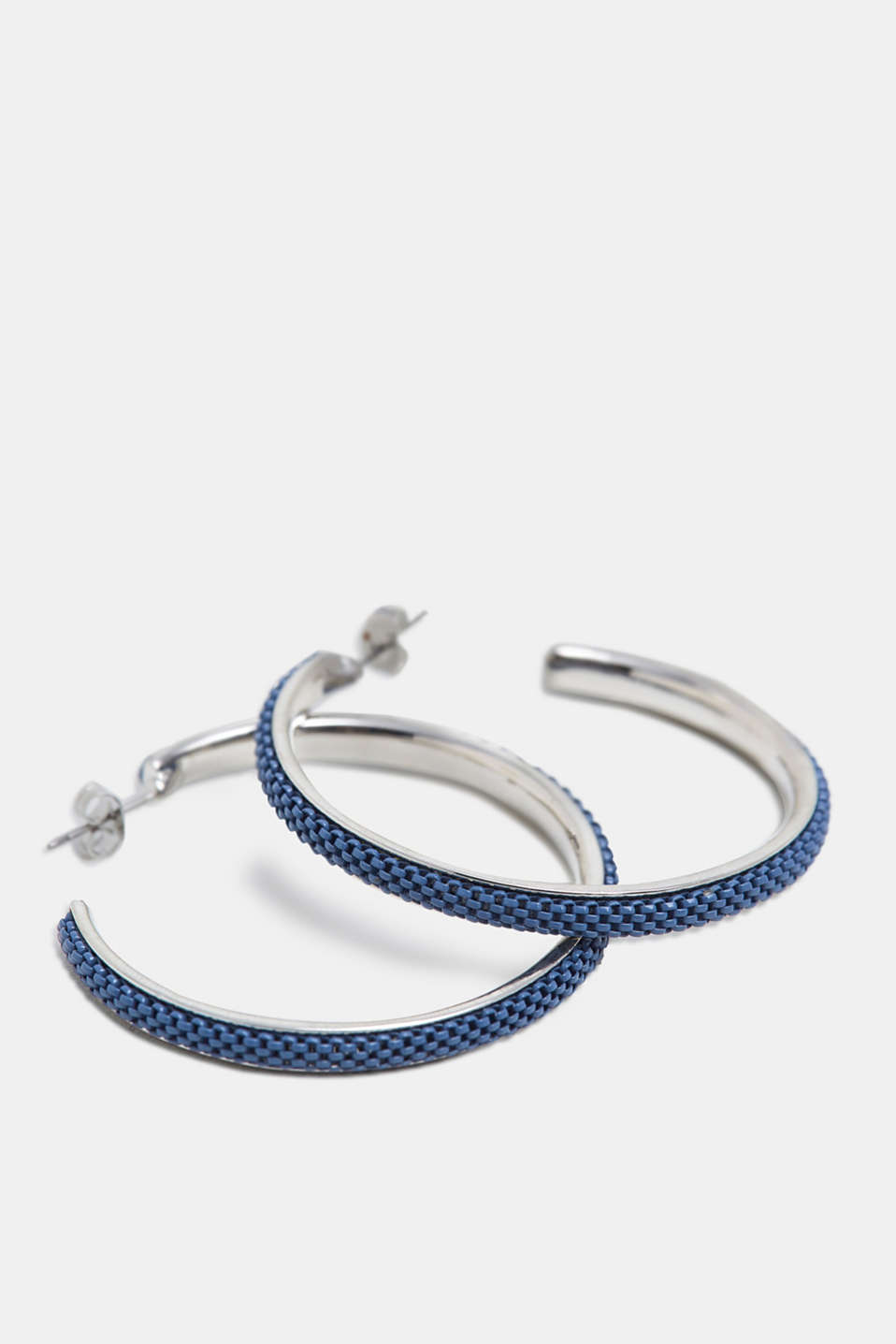 Creoles with metal links, BLUE, detail image number 1