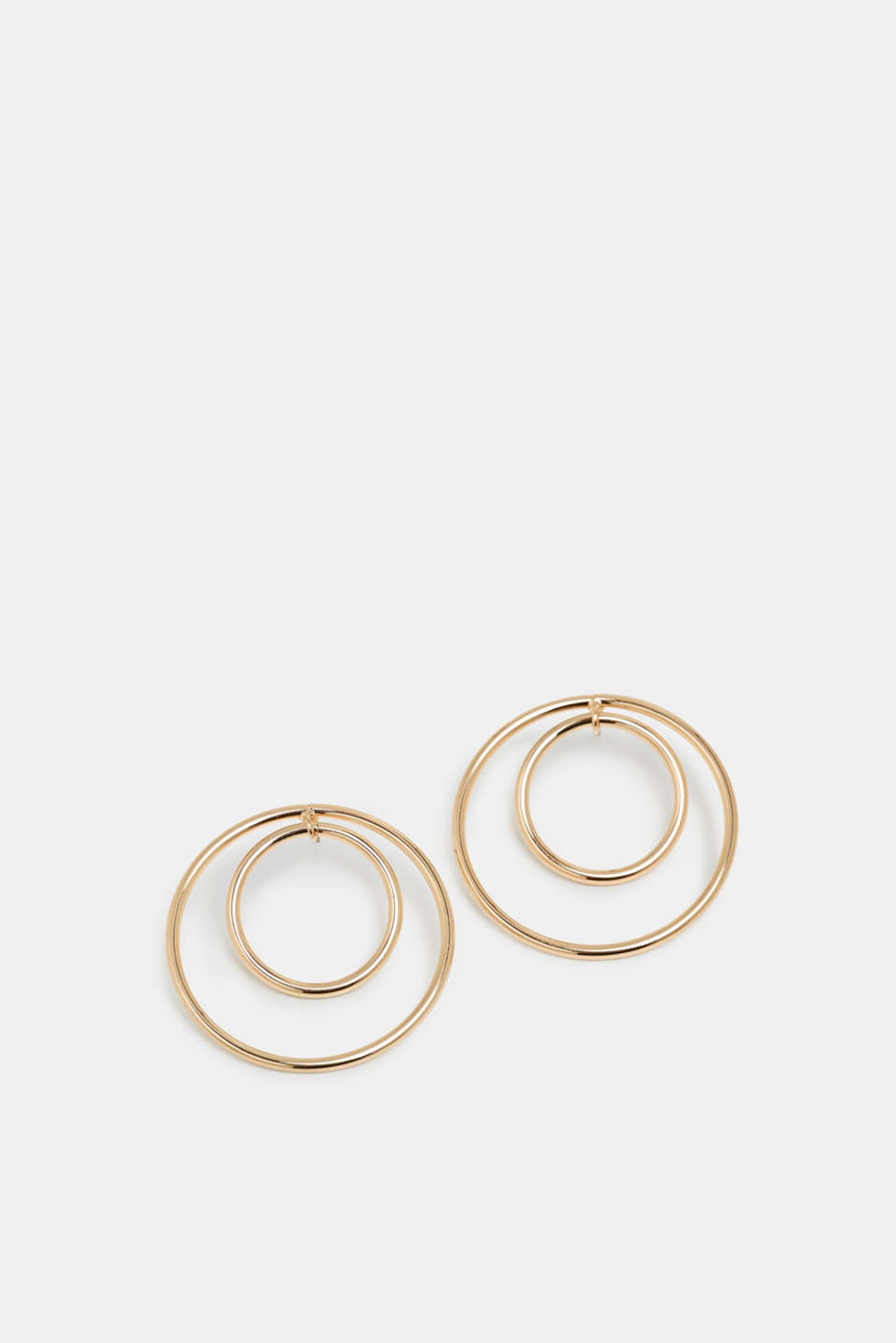 Gold hoop earrings made of metal, GOLD, detail image number 0