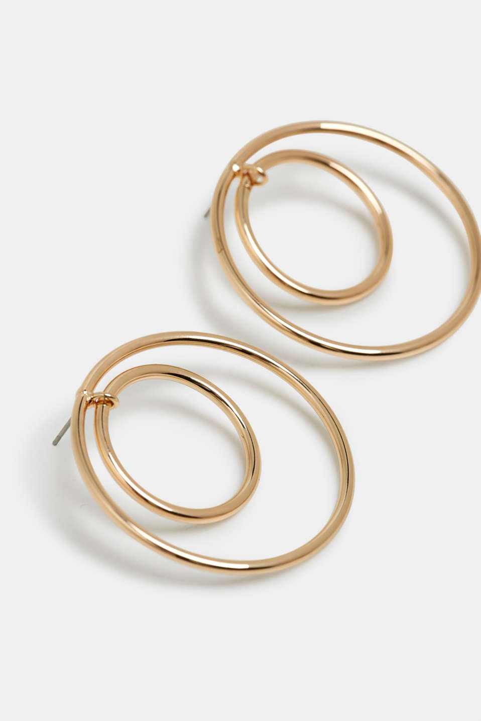 Gold hoop earrings made of metal, GOLD, detail image number 1