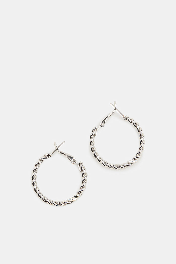 Hoop earrings with a twisted texture, SILVER, overview