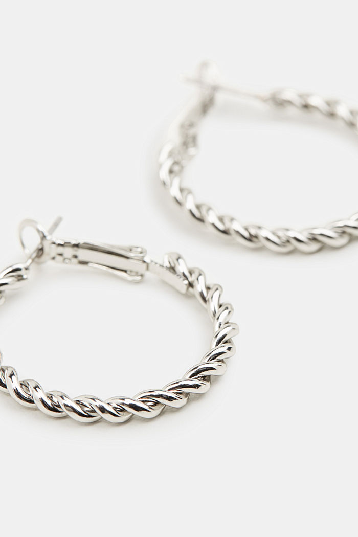 Hoop earrings with a twisted texture, SILVER, detail image number 1