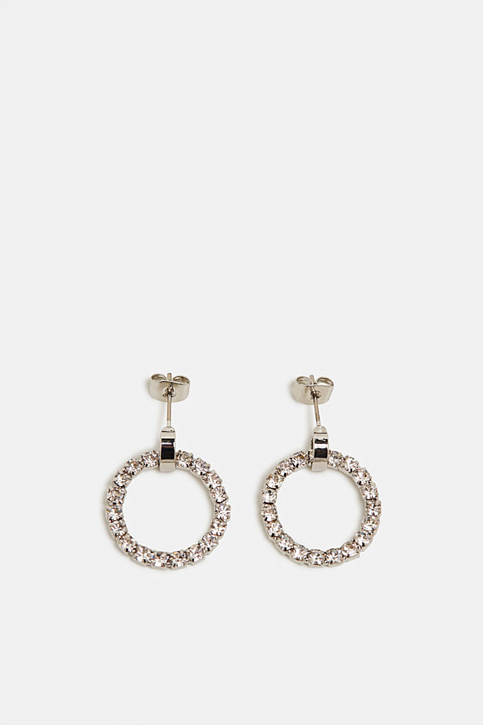 Earrings with facet-cut stones, SILVER, detail image number 0