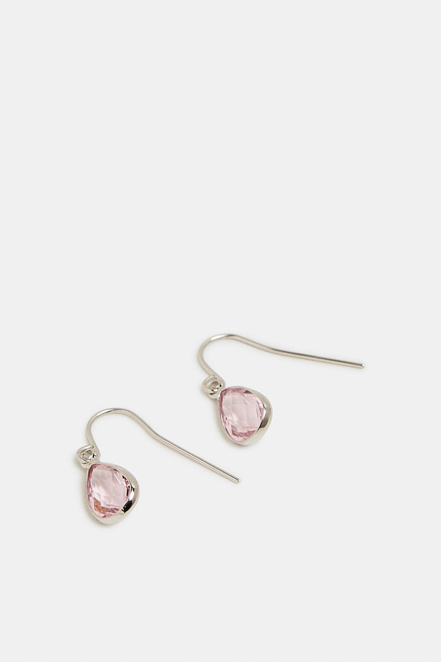 Teardrop-shaped earrings with facet-cut stones