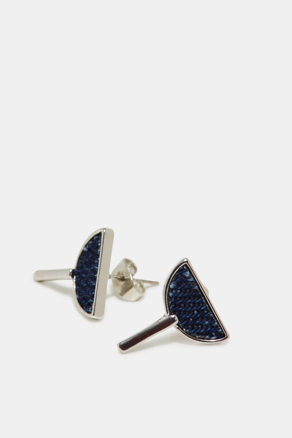 Stud earrings with denim details, one colour, detail image number 1