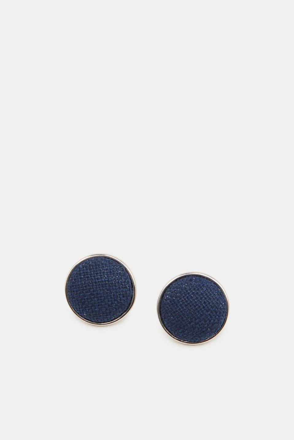 Stud earrings with fabric trim, 1COLOR, detail image number 0