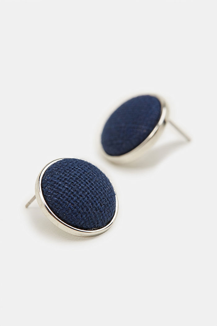 Stud earrings with fabric trim, BLUE, detail image number 1