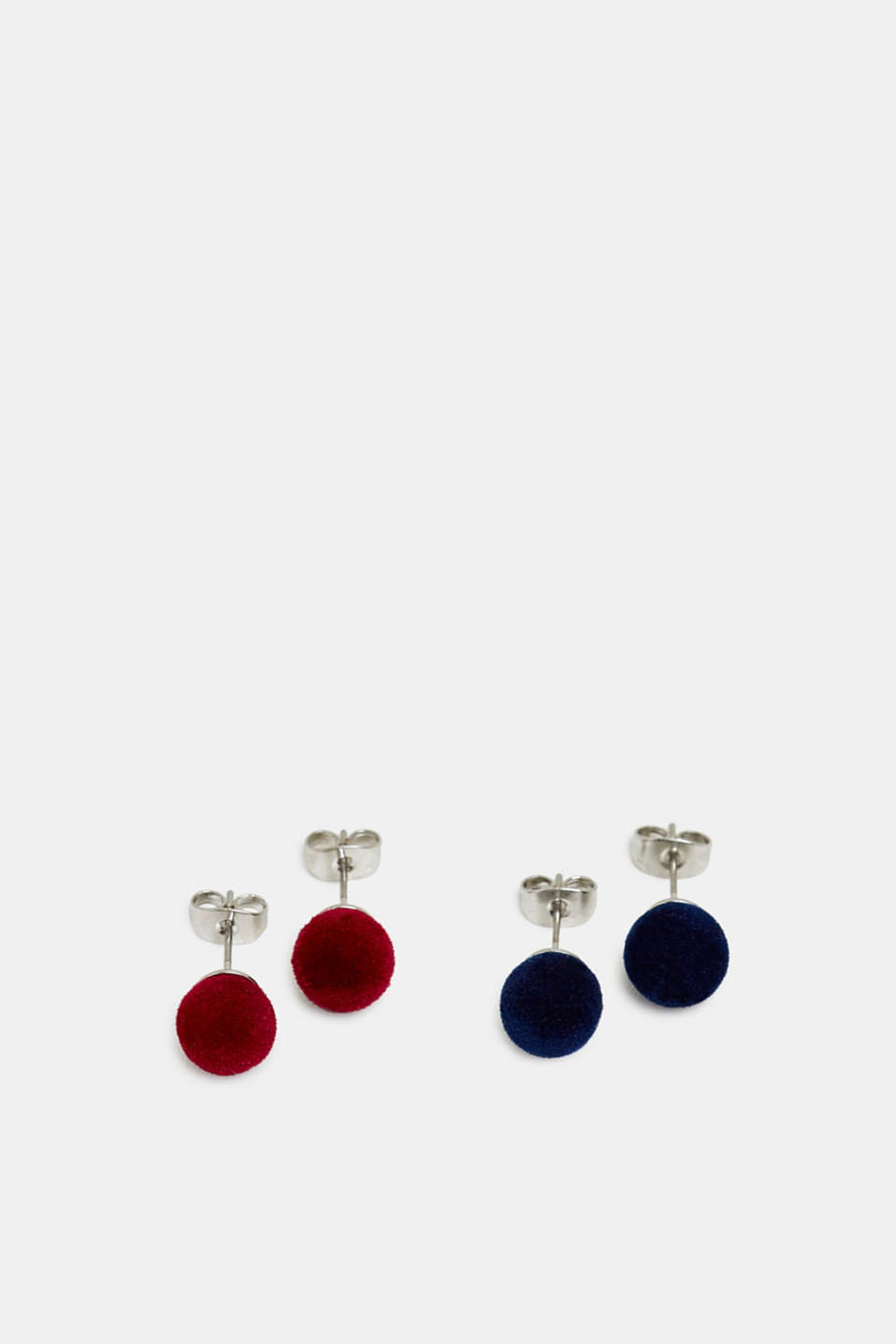 Double pack of velvet stud earrings, RED, detail image number 0