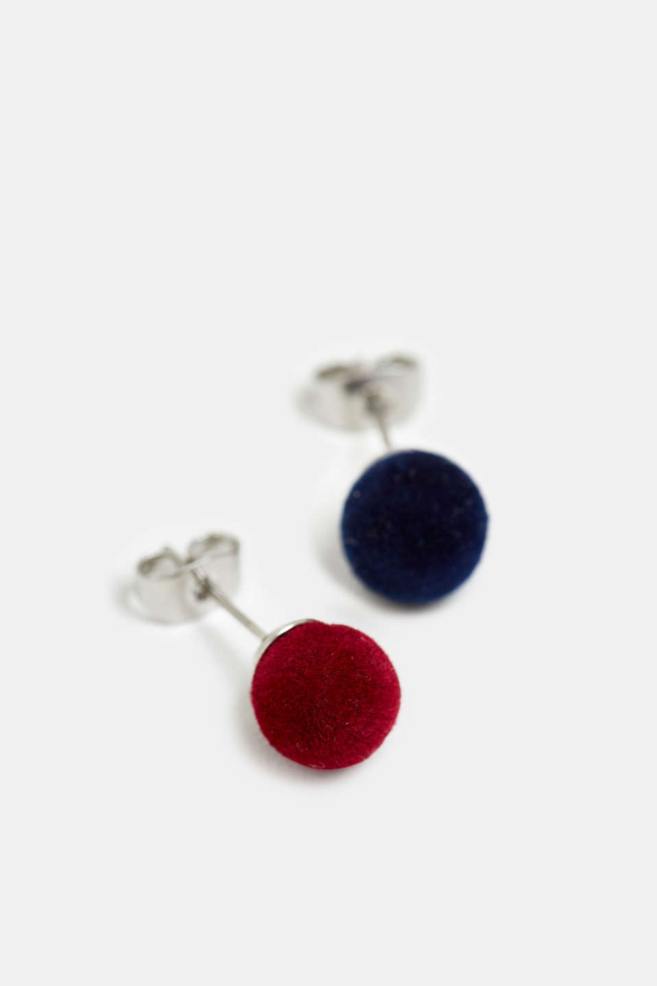 Double pack of velvet stud earrings, RED, detail image number 1