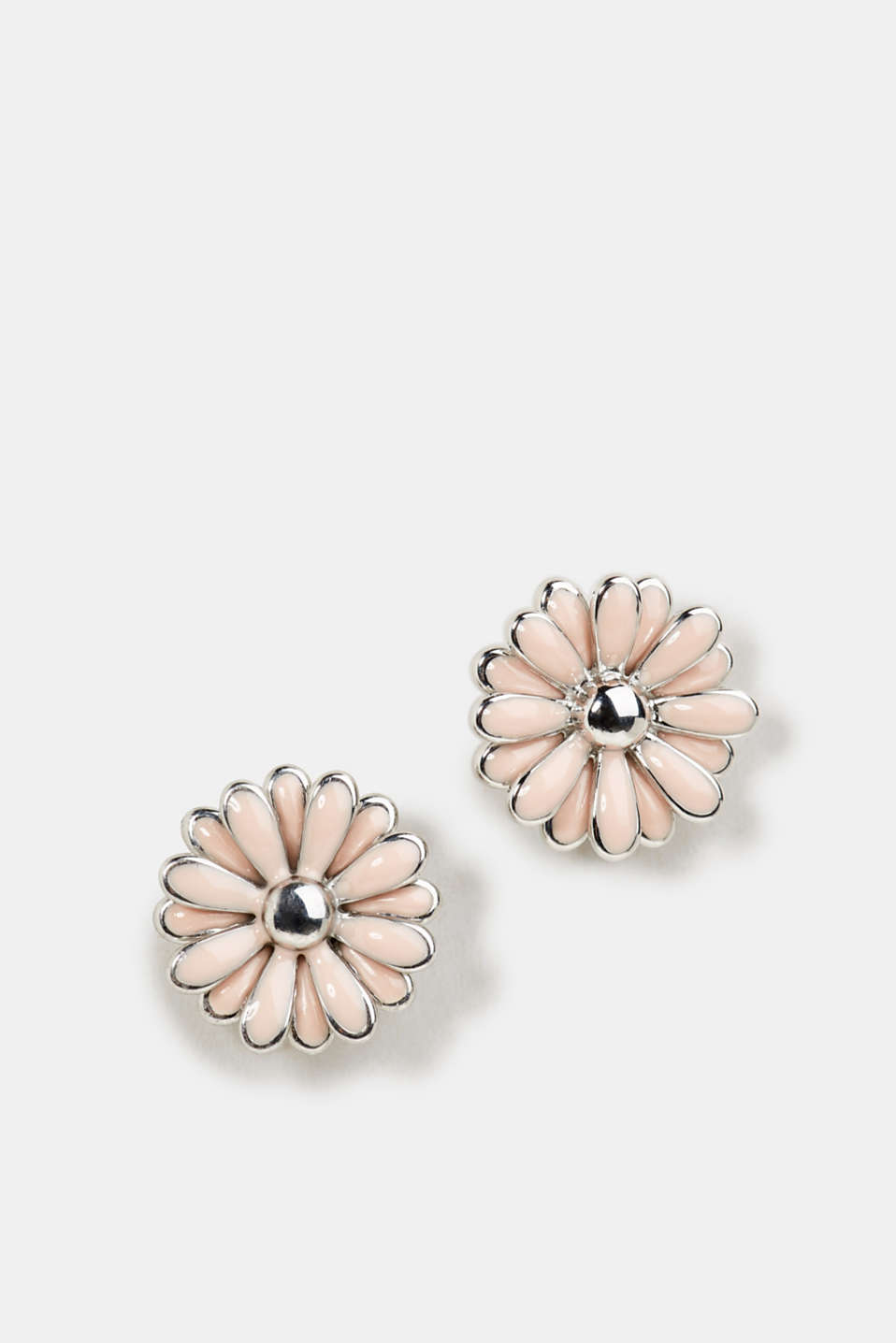 Stud earrings with a flower motif, 1COLOR, detail image number 0