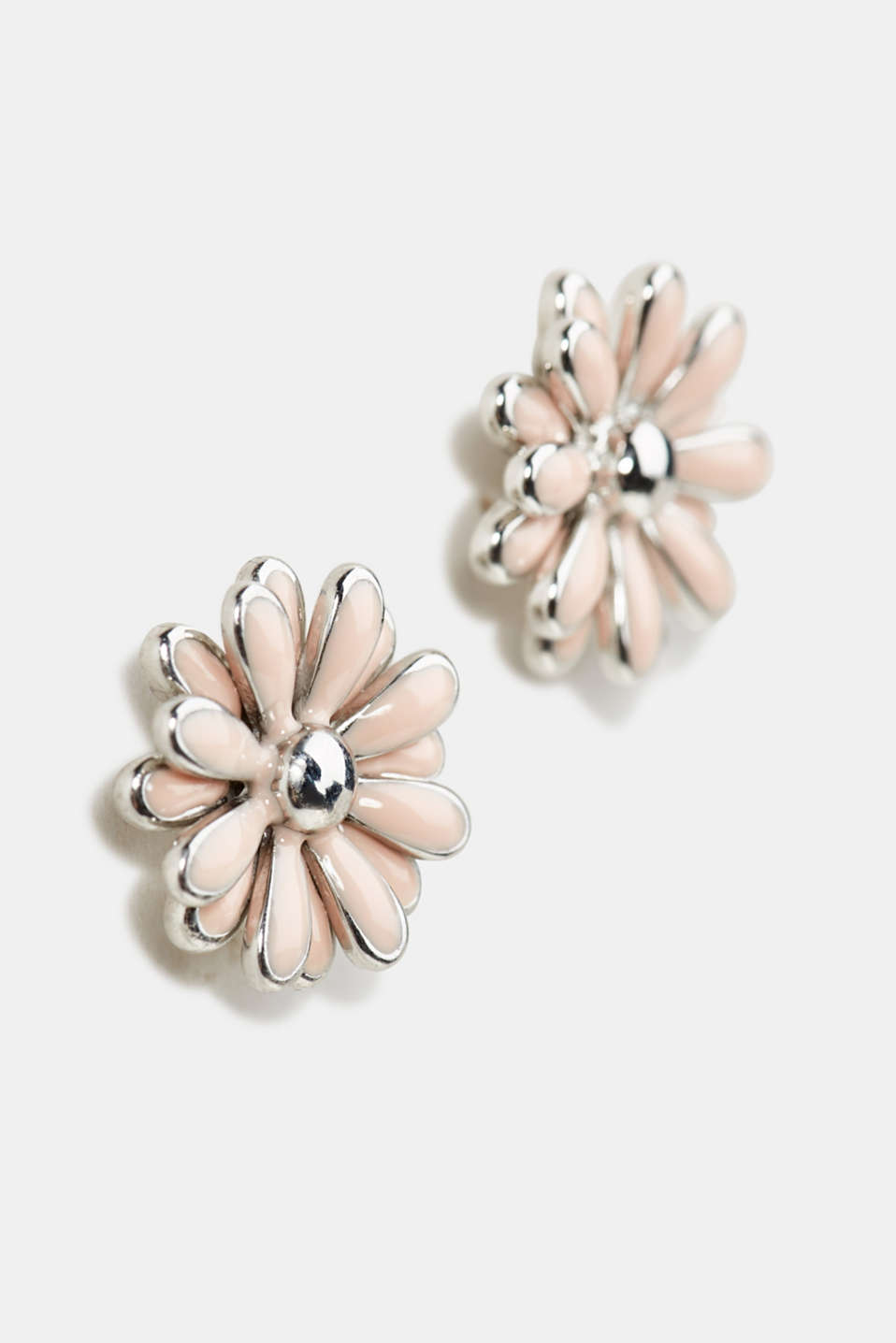 Stud earrings with a flower motif, 1COLOR, detail image number 1