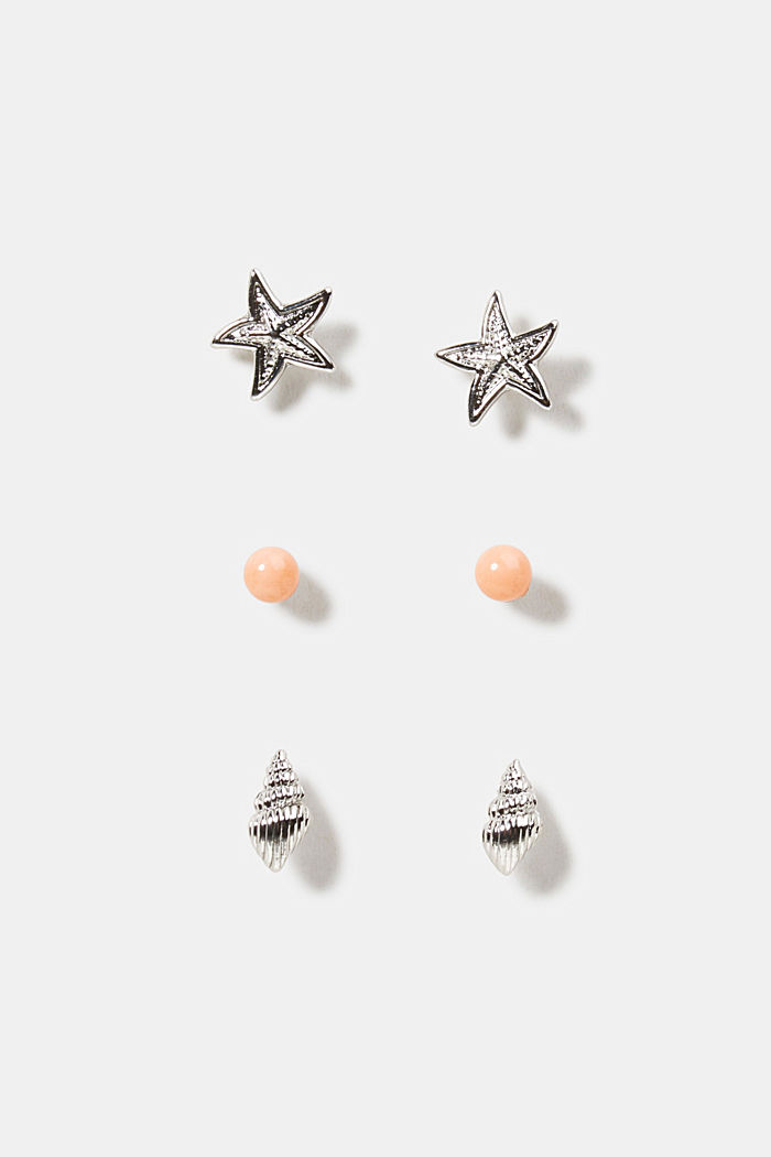 Three pairs of stud earrings, SILVER, overview
