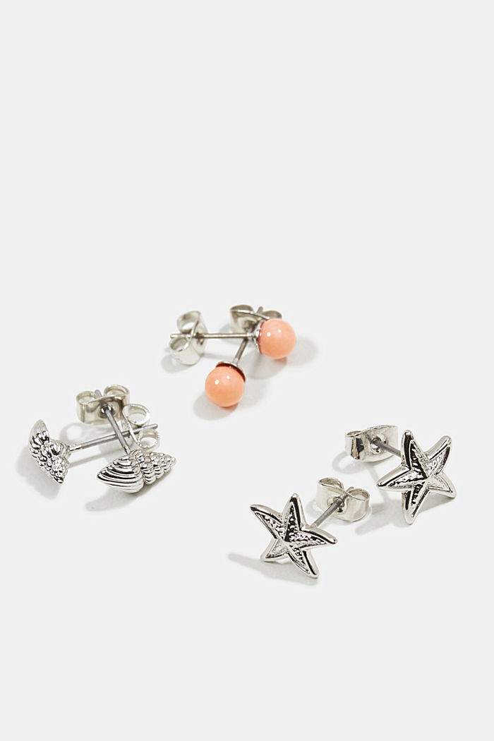 Three pairs of stud earrings, SILVER, detail image number 1