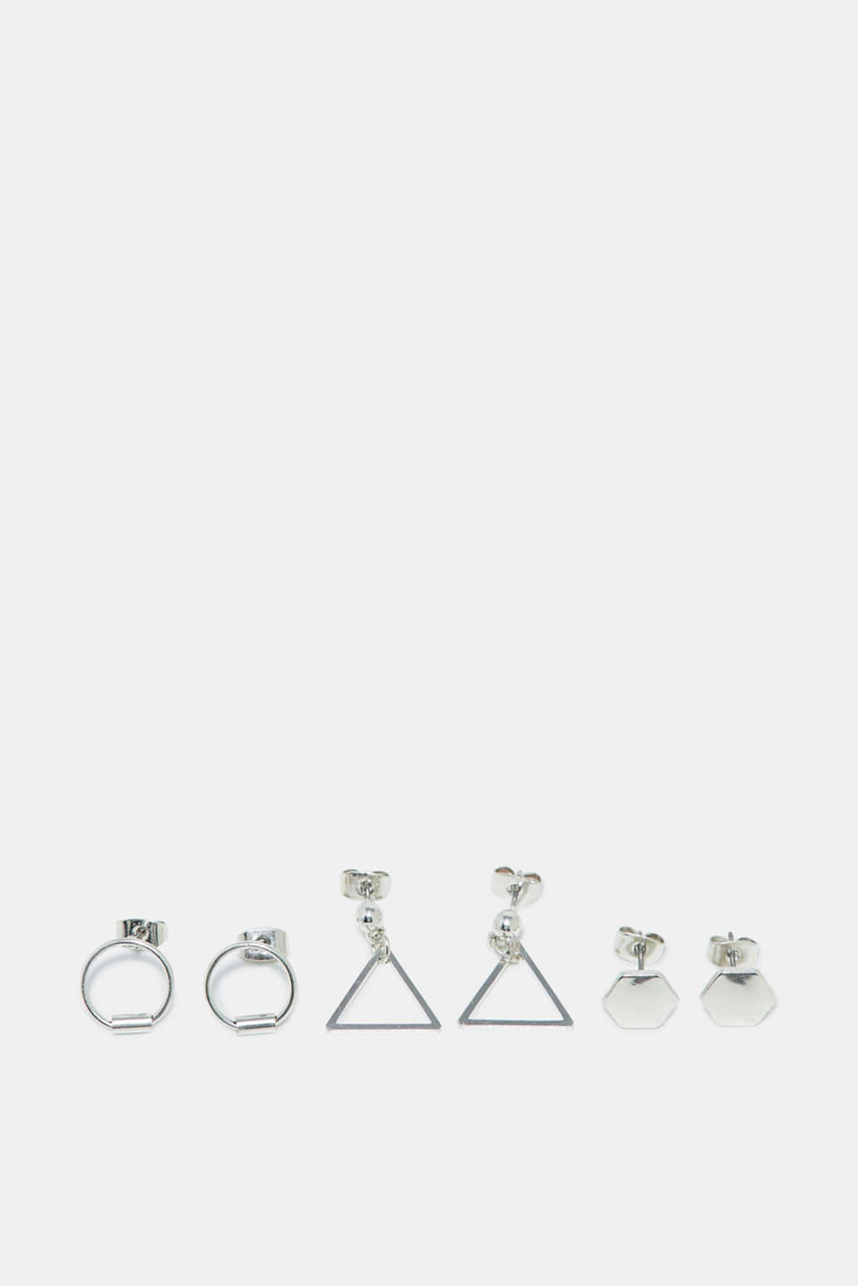 Esprit - Triple set of metal stud earrings