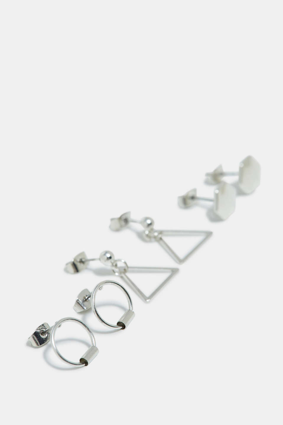 Triple set of metal stud earrings