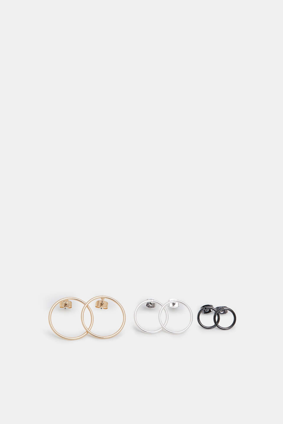 Esprit - Set of 3 metal stud earrings