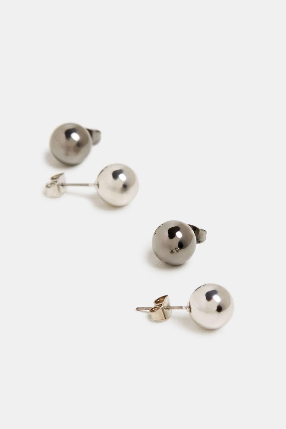 Set of metallic stud earrings, SILVER, detail image number 1