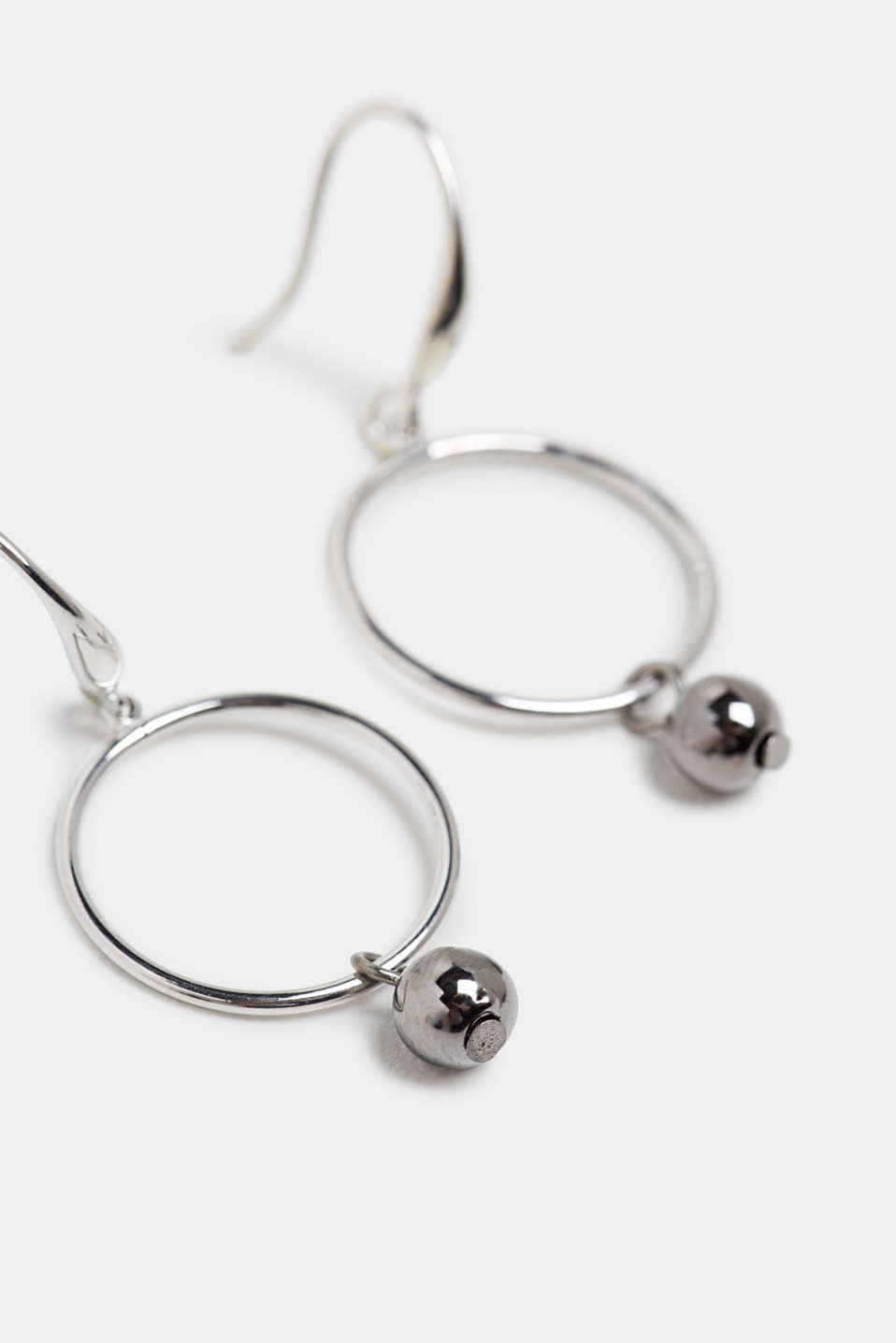 Earrings with a metal bead, SILVER, detail image number 0