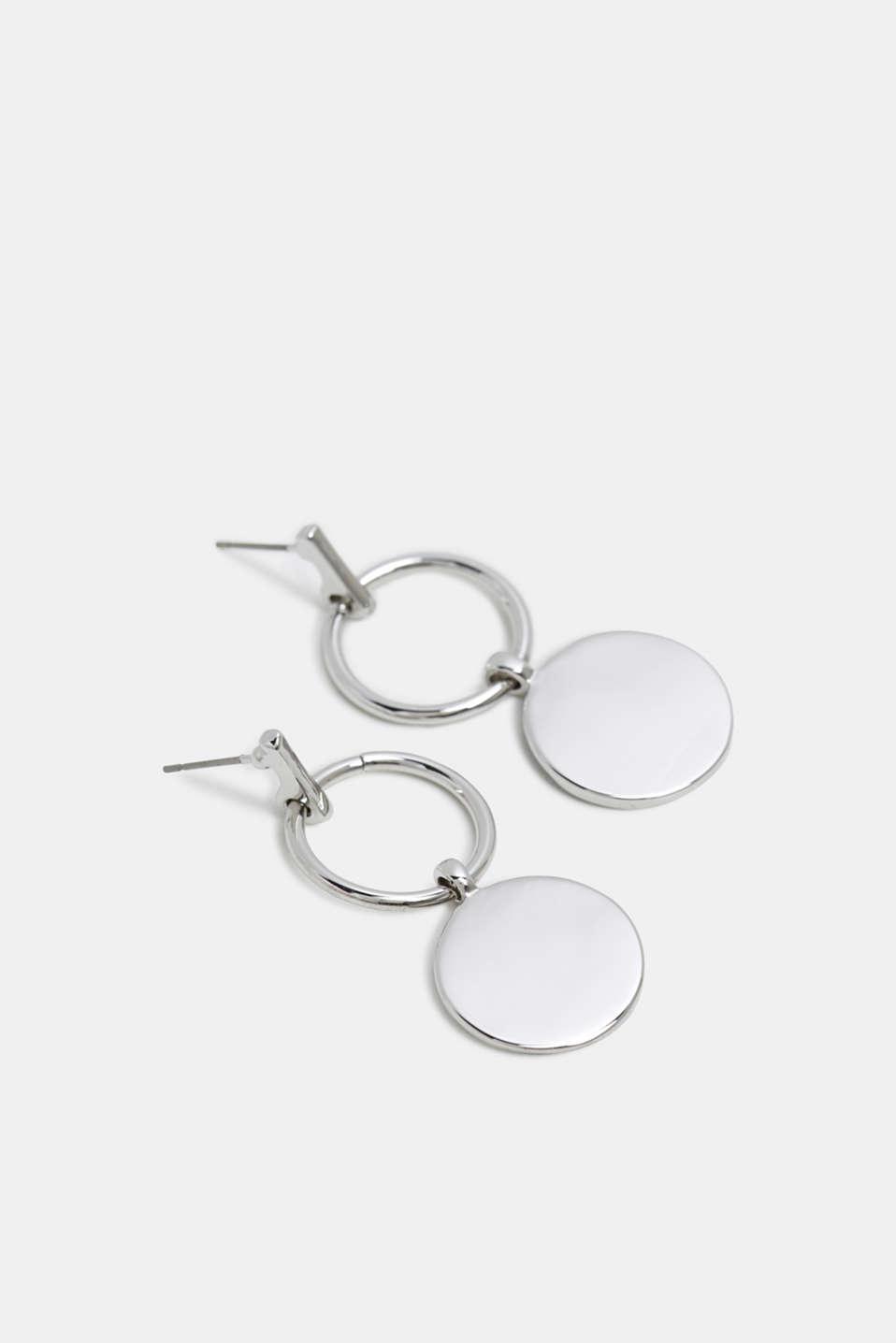 Stud earrings with metal discs, SILVER, detail image number 1