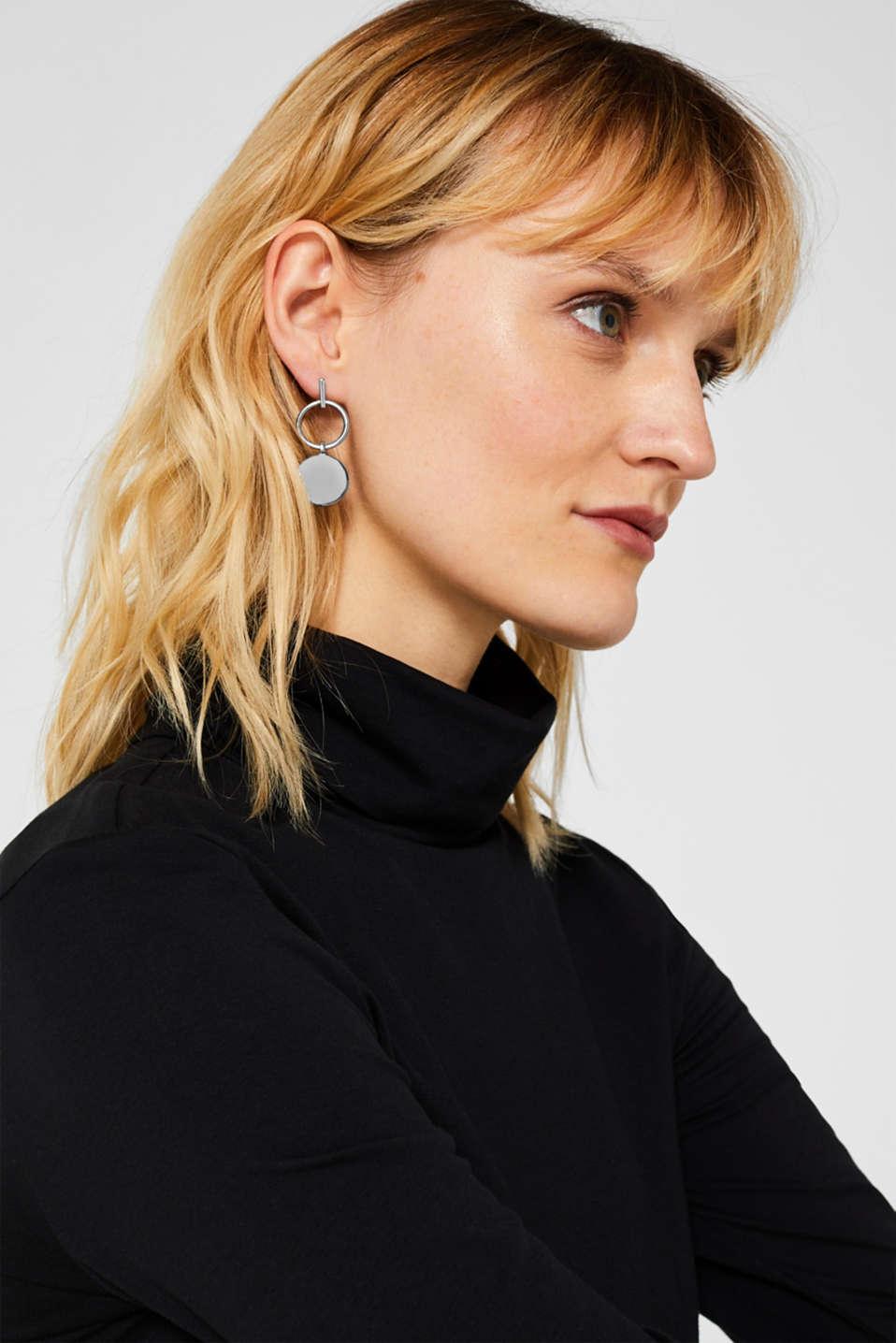 Stud earrings with metal discs, SILVER, detail image number 2