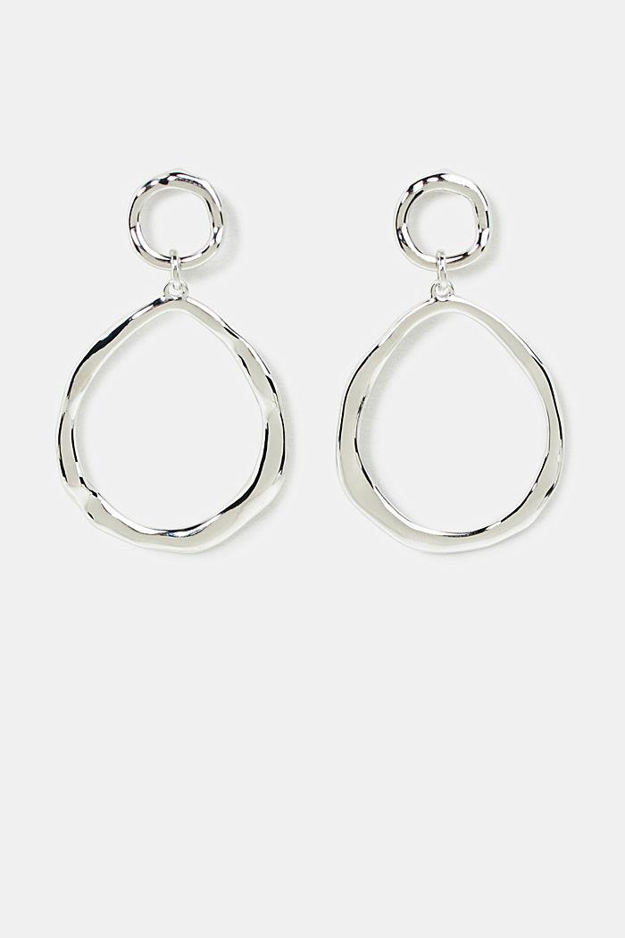 Oval hoop earrings made of metal, SILVER, detail image number 0