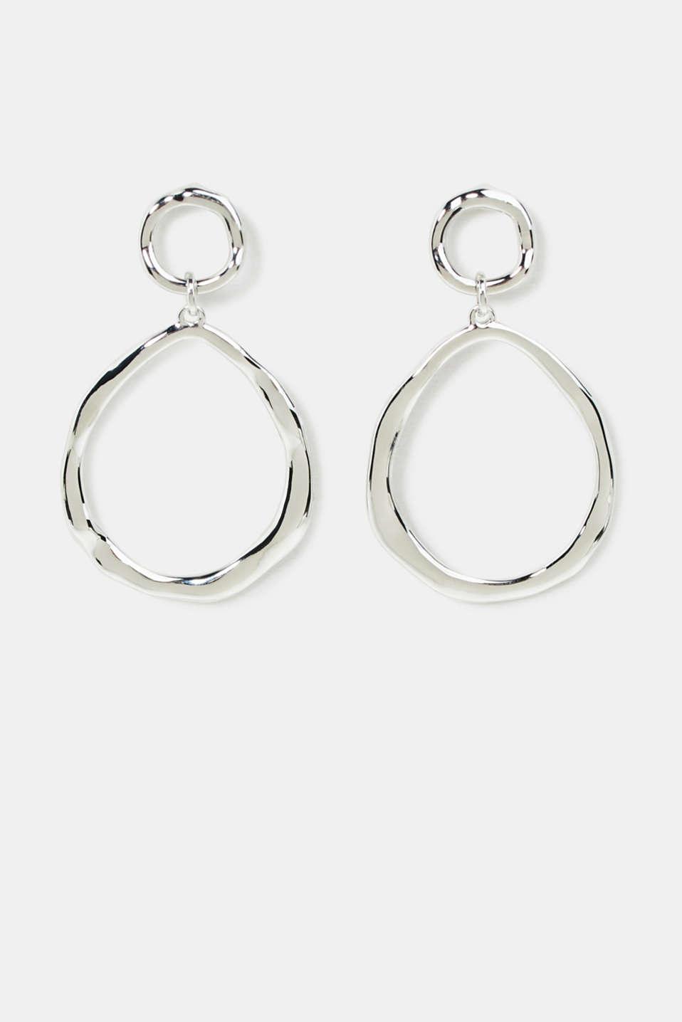 Oval hoop earrings made of metal, 1COLOR, detail image number 0