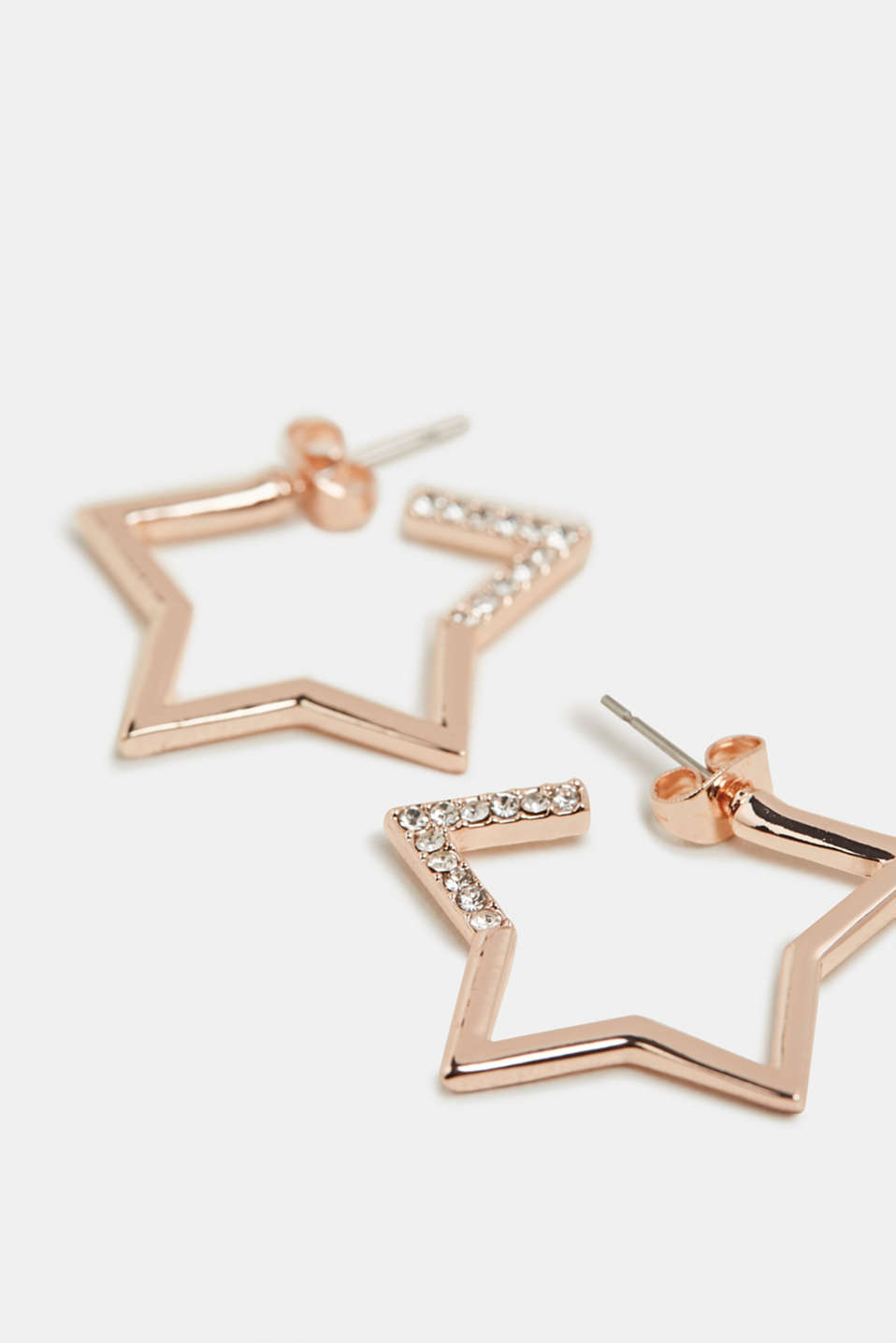 Stud earrings with facet-cut stones, ROSEGOLD, detail image number 1