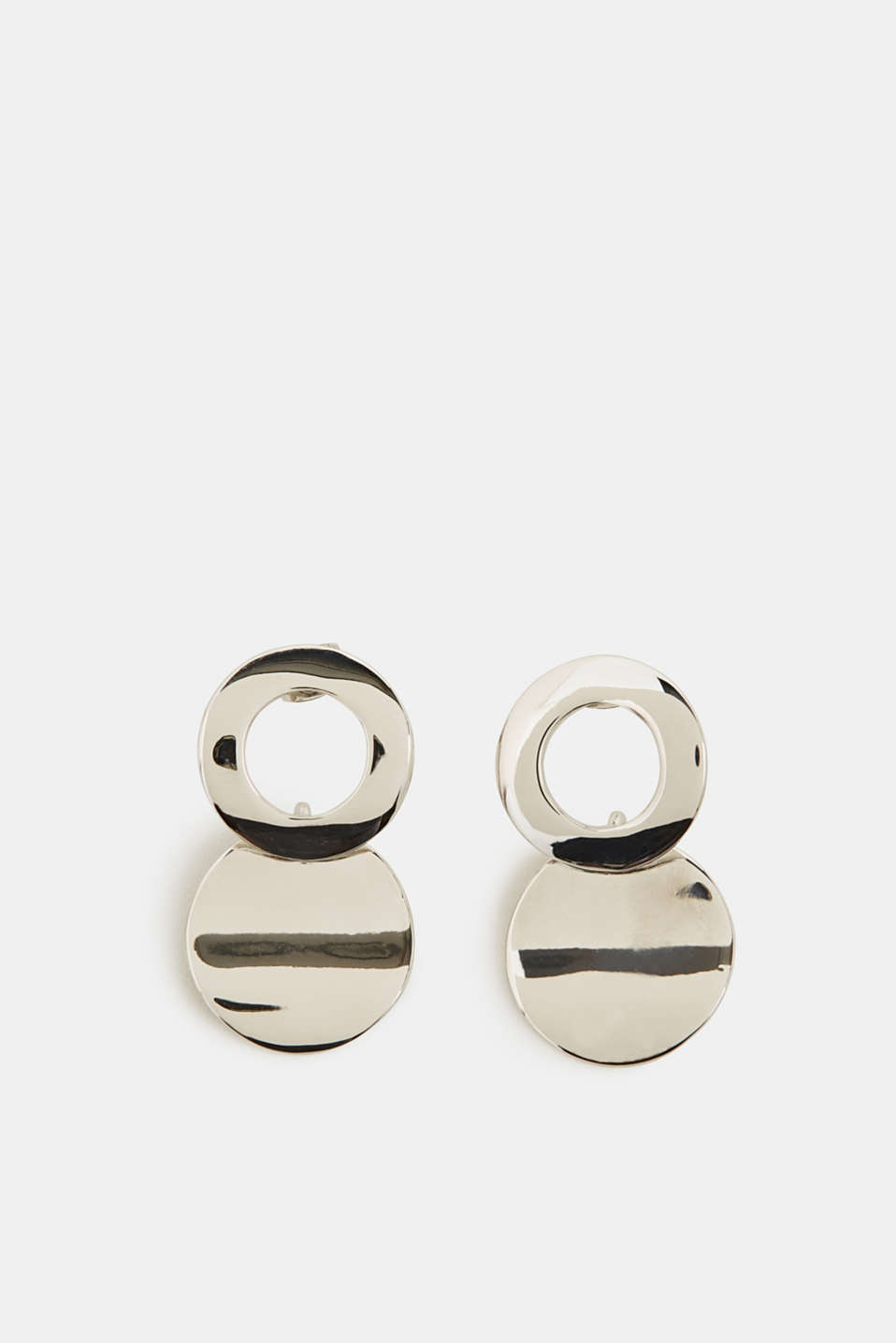 Metal stud earrings, SILVER, detail image number 0