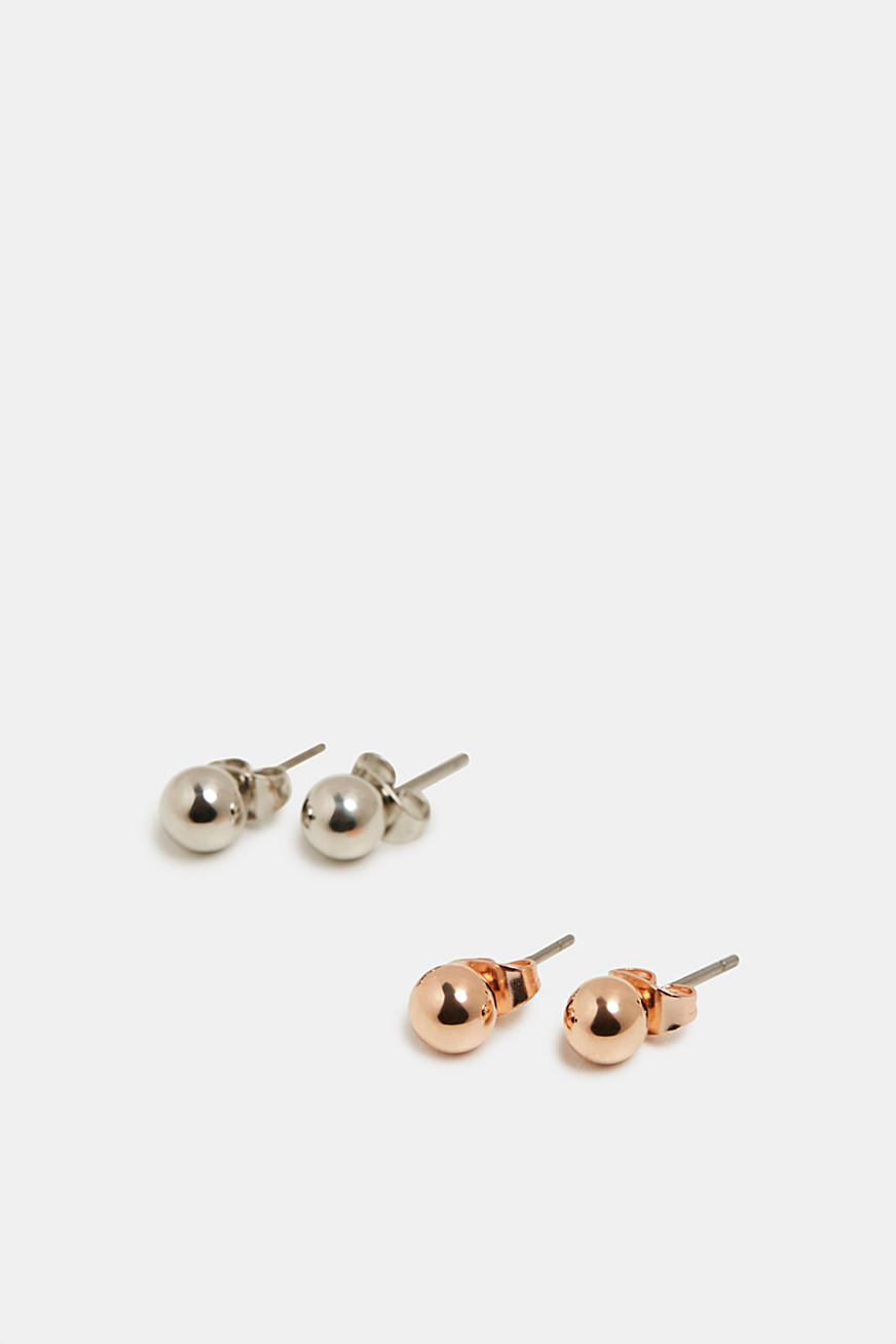 Set of two stud earrings with metal beads