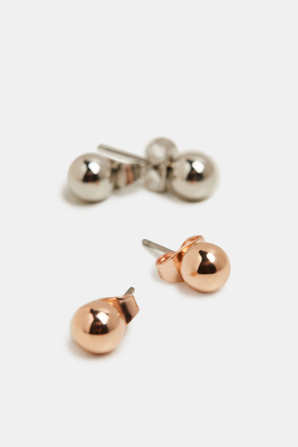 Set of two stud earrings with metal beads, ROSEGOLD, detail image number 1