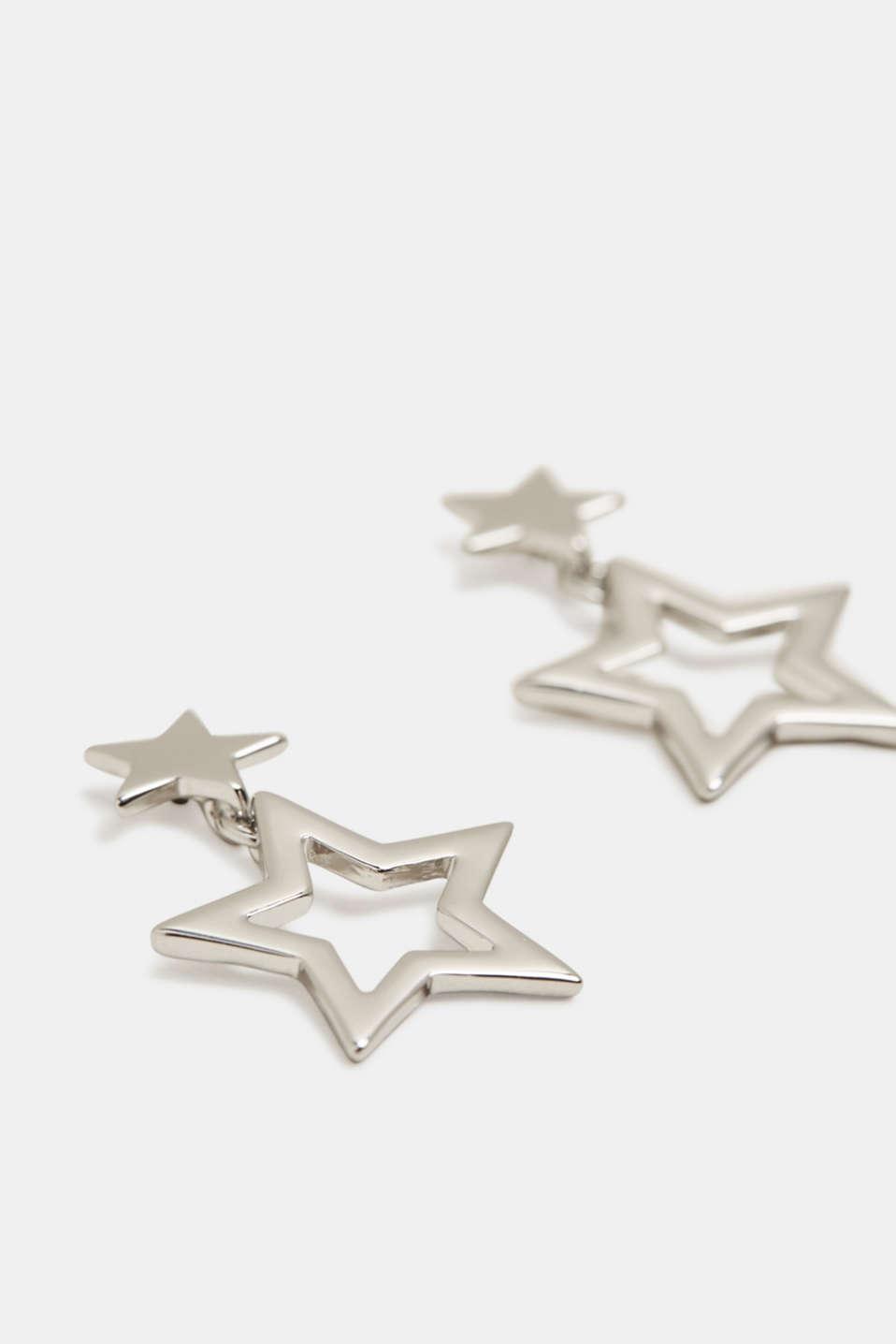 Star pendant stud earrings, SILVER, detail image number 0