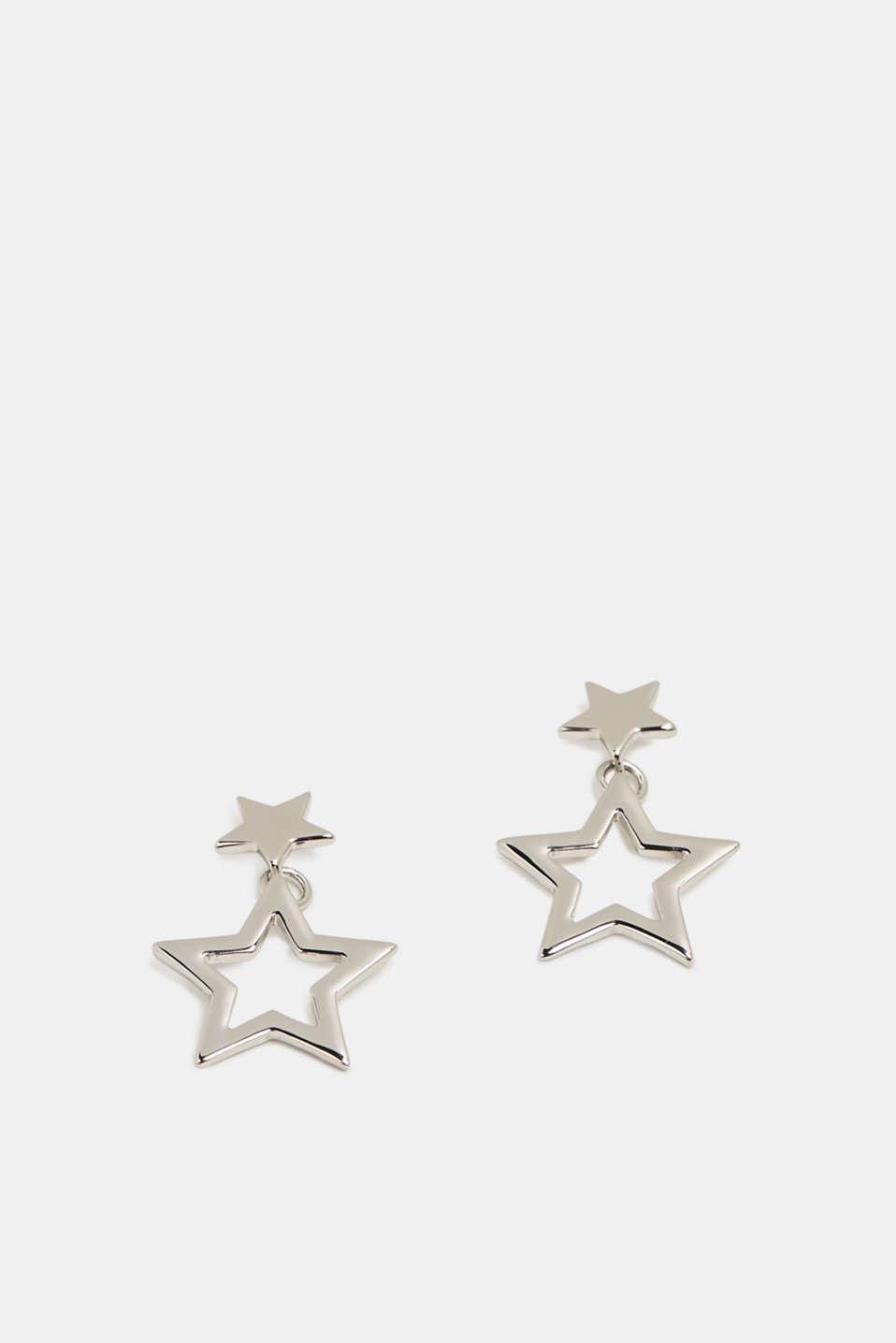 Star pendant stud earrings, SILVER, detail image number 1