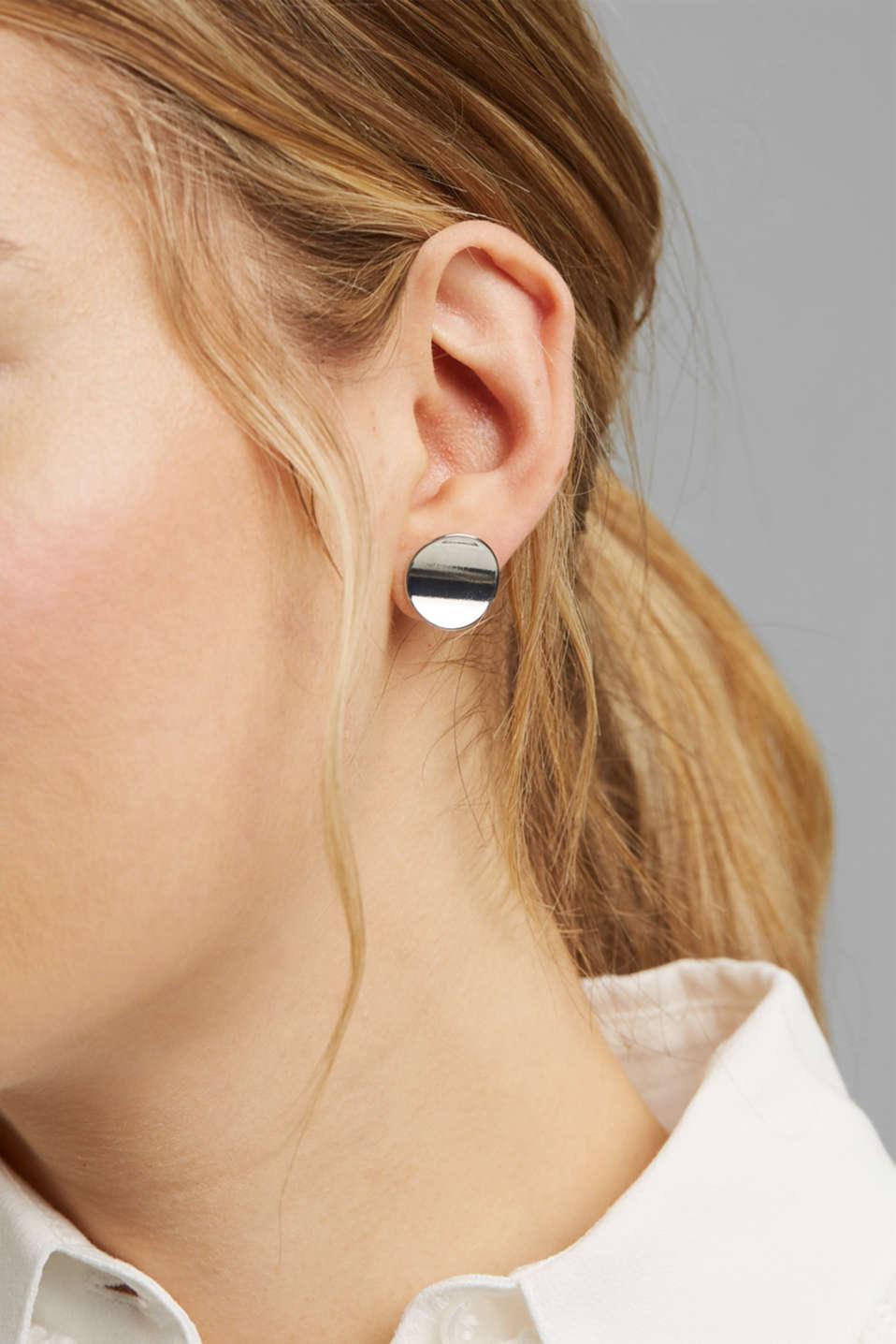 Metal stud earrings, 1COLOR, detail image number 2