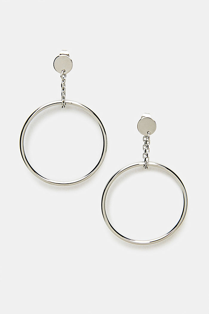 Stud earrings with a round pendant, ONE COLOUR, detail image number 0