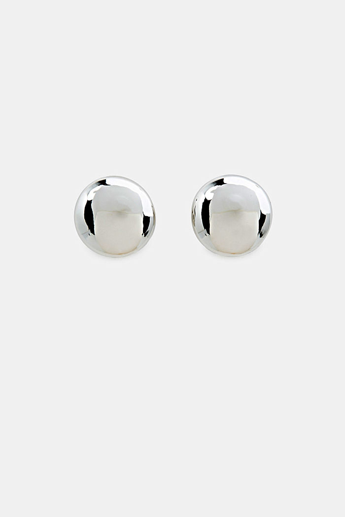 Silver stud earrings made of metal, SILVER, detail image number 0