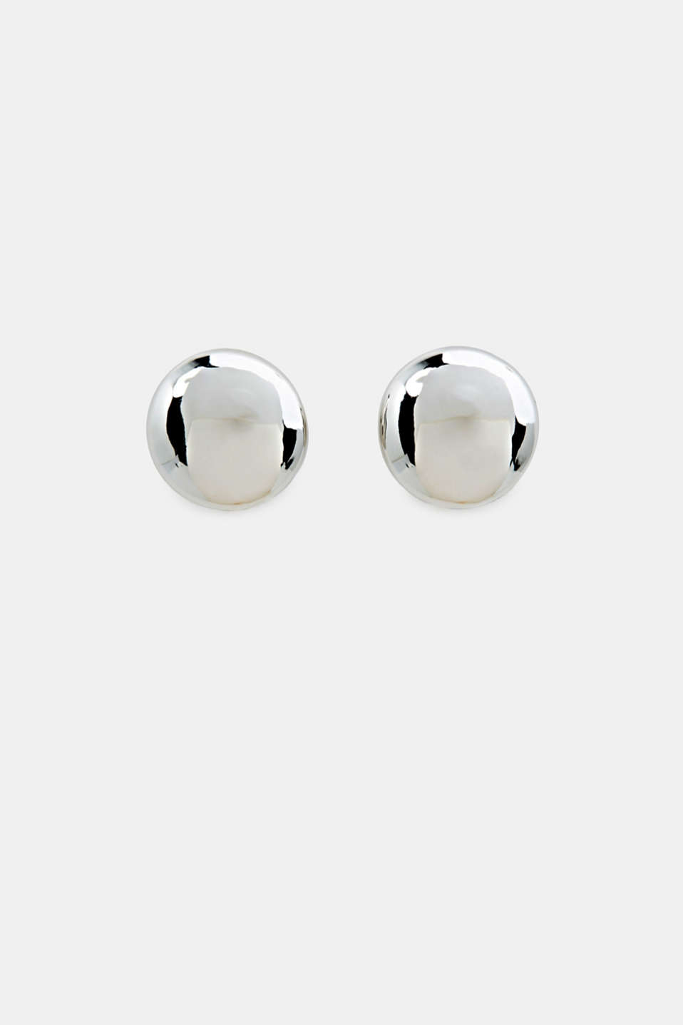 Silver stud earrings made of metal, 1COLOR, detail image number 0