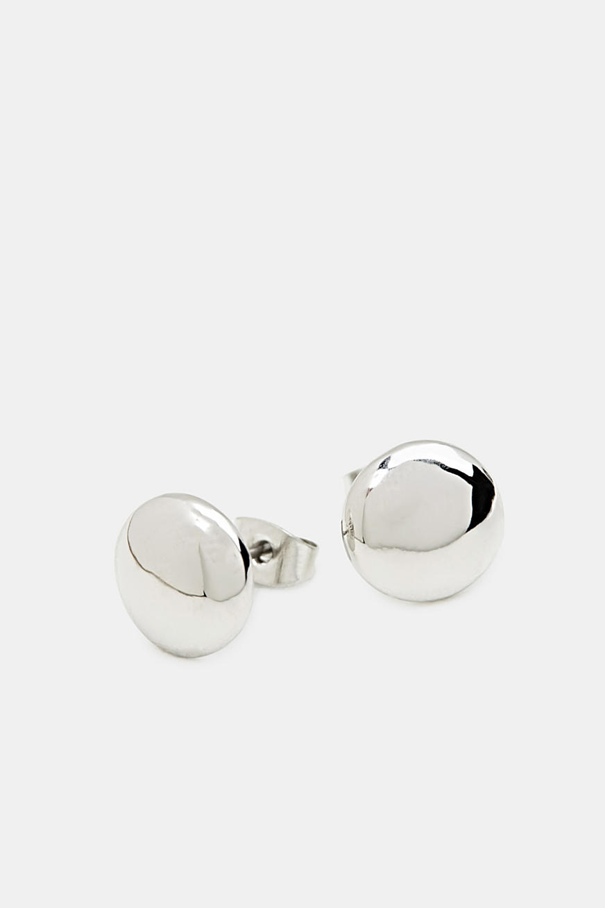 Silver stud earrings made of metal