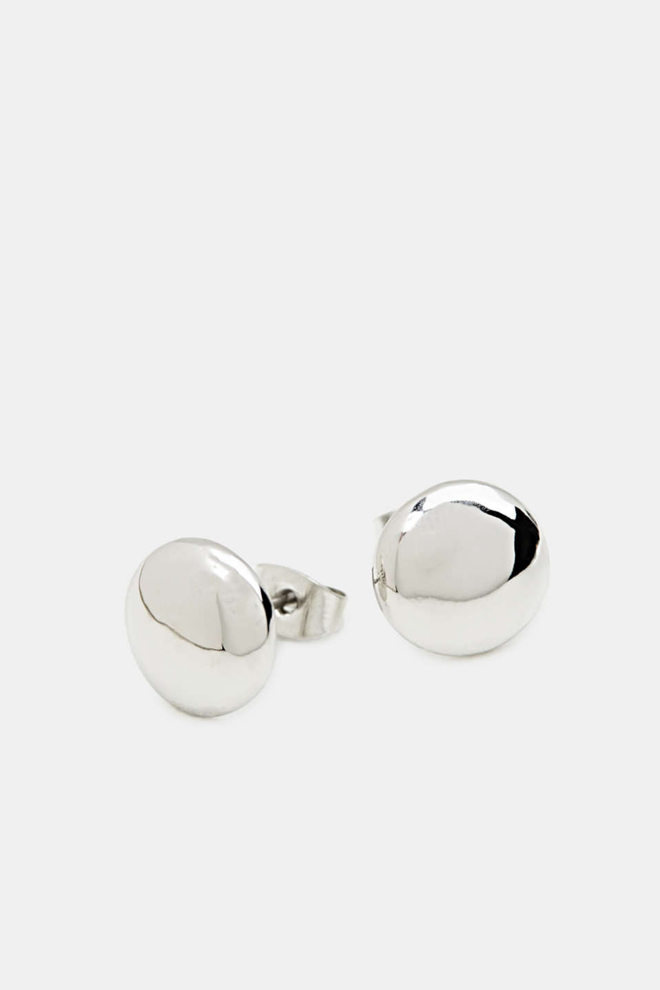 Silver stud earrings made of metal, 1COLOR, detail image number 1