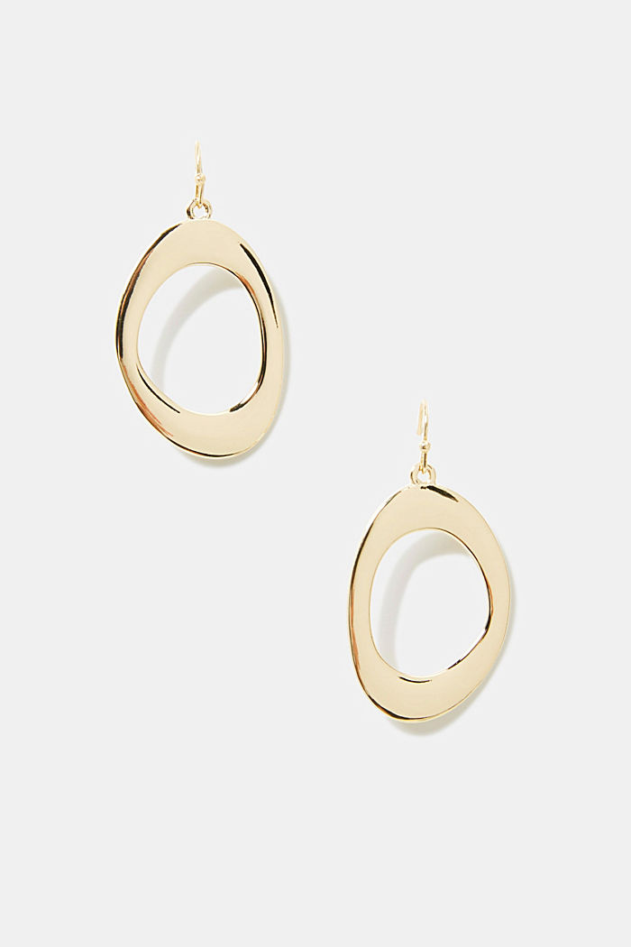 Oval earrings in a gold tone, GOLD, detail image number 0