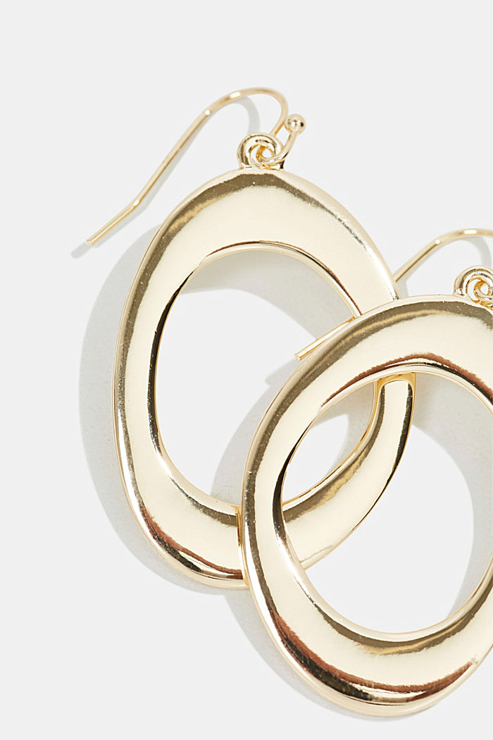 Oval earrings in a gold tone, GOLD, detail image number 1