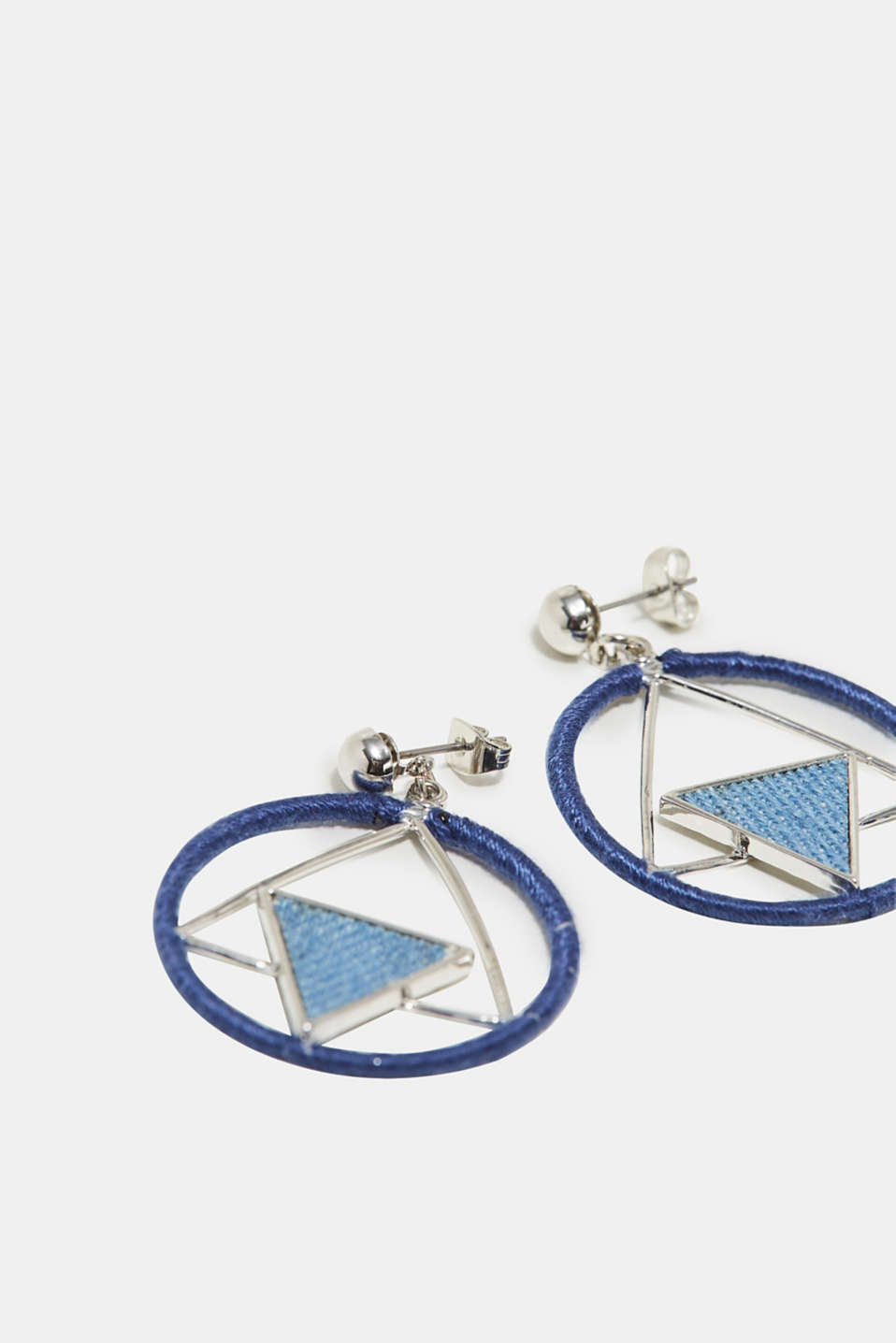 Earrings with a denim trim, one colour, detail image number 1