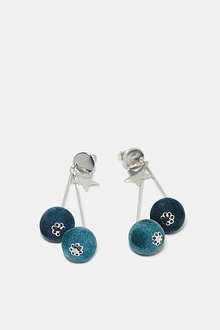 Velvet orb earrings, BLUE, detail image number 0