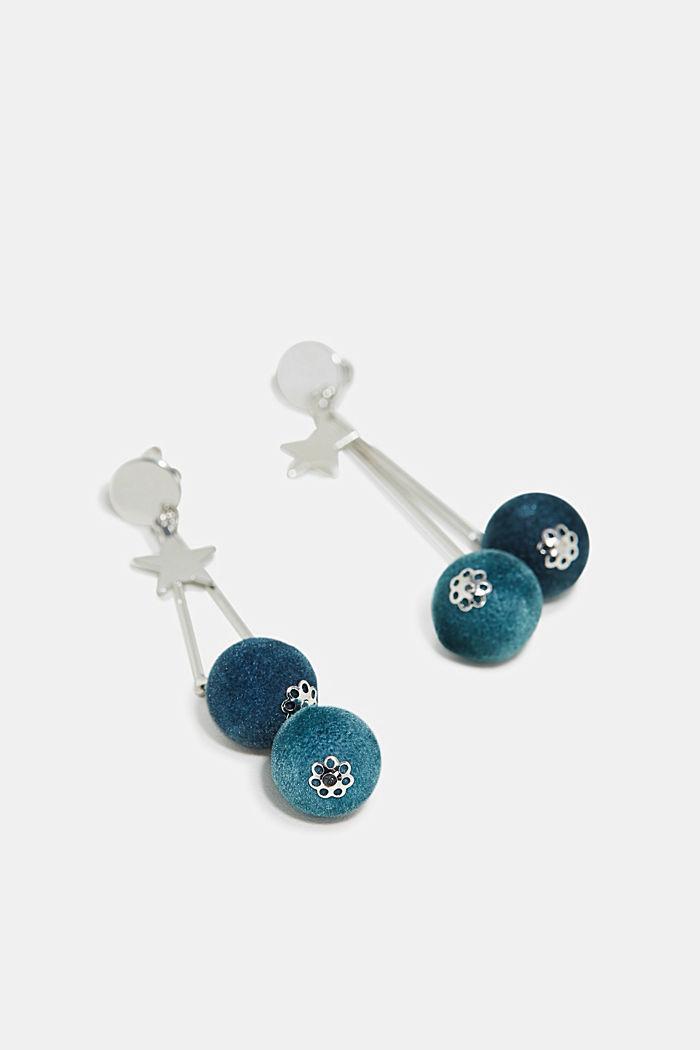 Velvet orb earrings, BLUE, detail image number 1