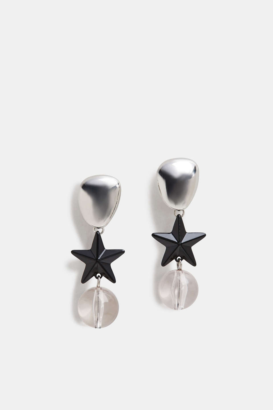Stud earrings with a star and bead, SILVER, detail image number 0