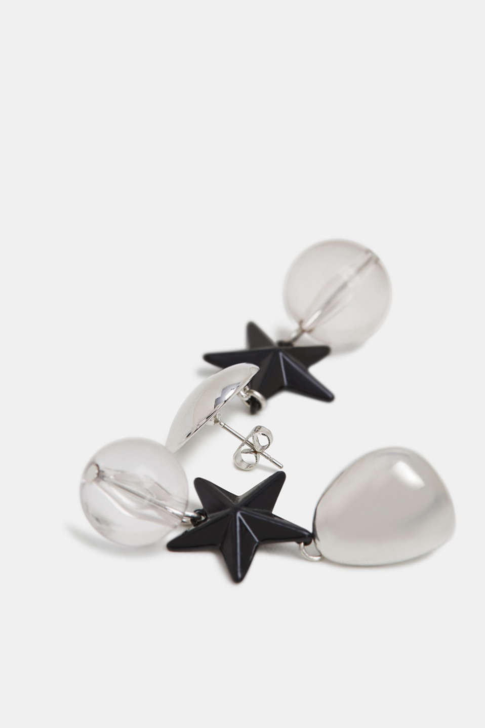 Stud earrings with a star and bead, SILVER, detail image number 1