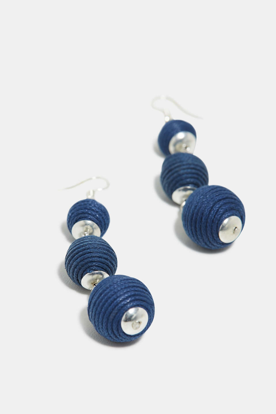 Earrings trimmed with XL beads, BLUE, detail image number 1