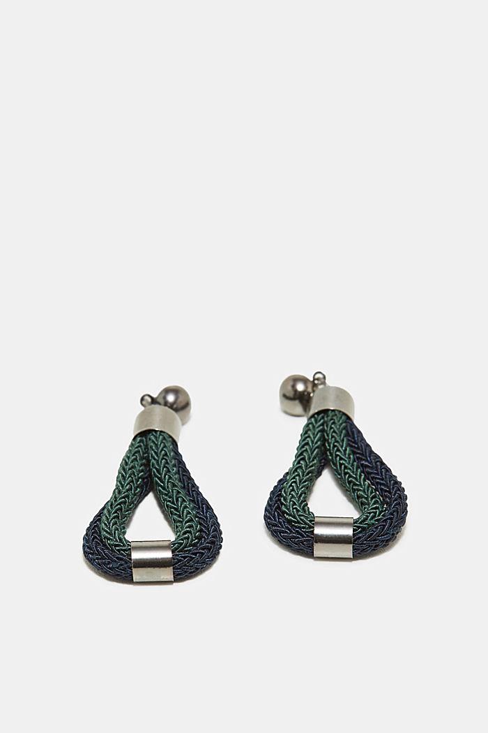 Stud earrings with braided loops, GREEN, detail image number 0