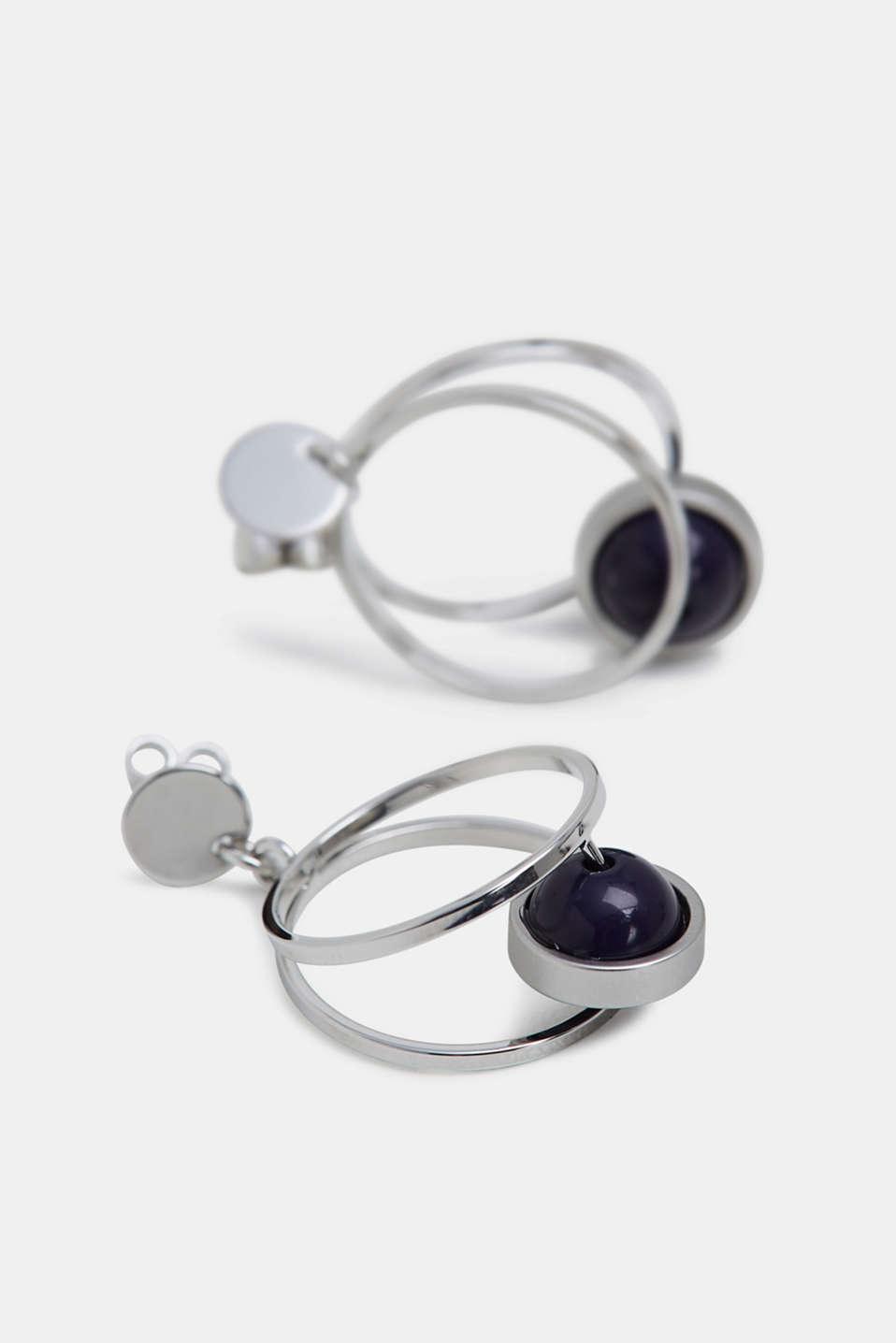 Bead detail stud earrings made of metal, SILVER, detail image number 1