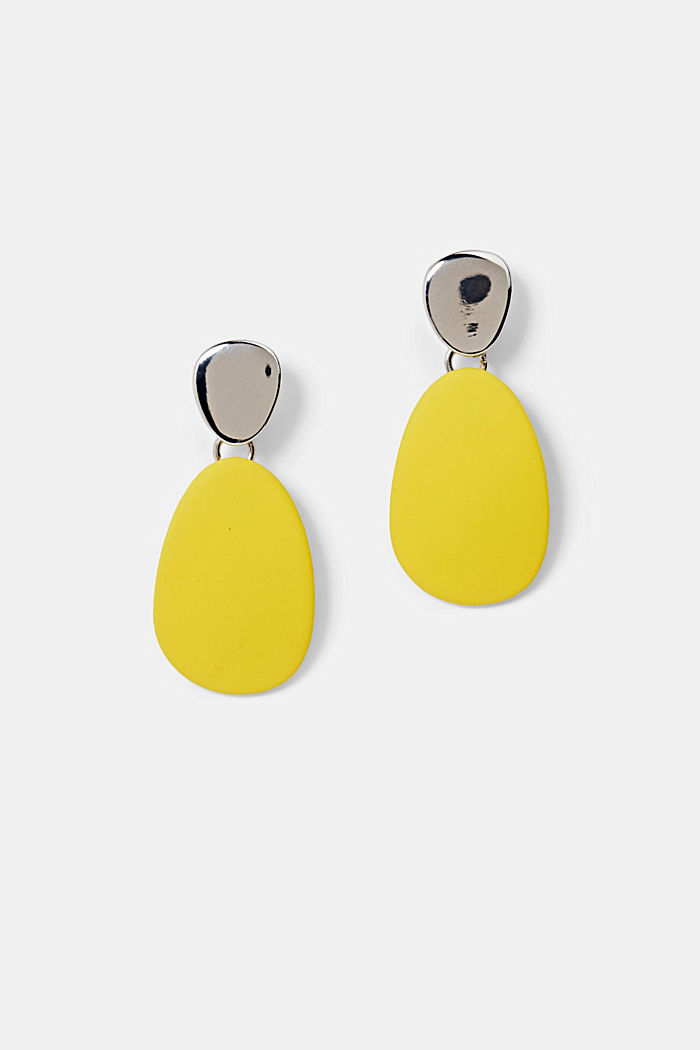 Metal and plastic stud earrings, YELLOW, detail image number 0