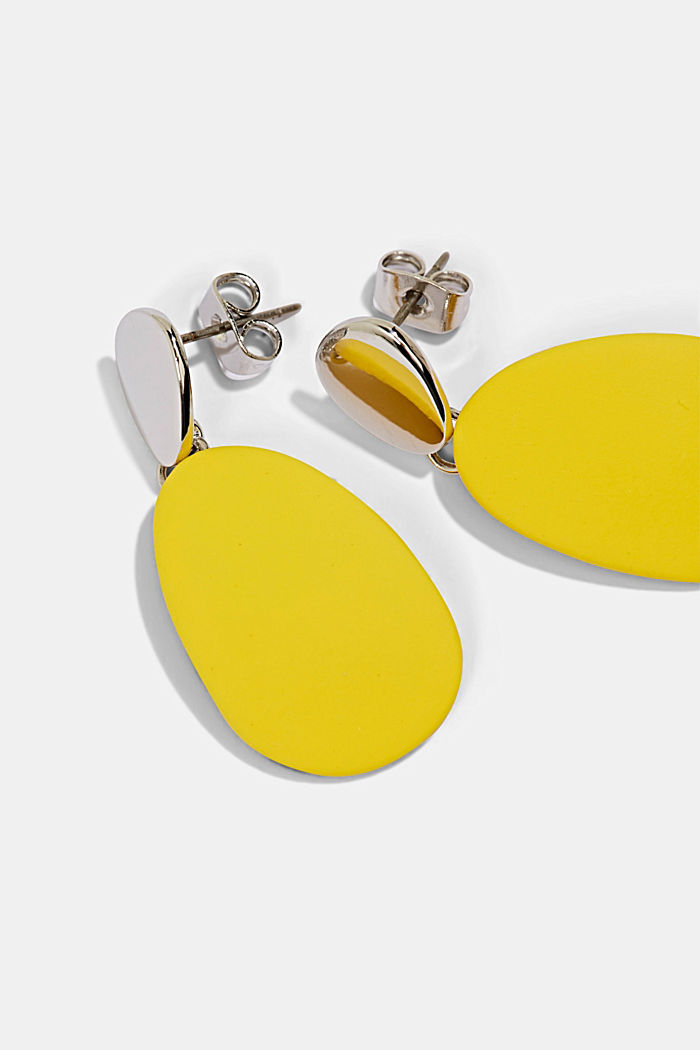 Metal and plastic stud earrings, YELLOW, detail image number 1
